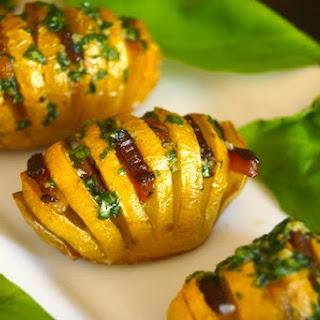 Bacon Basil Hasselback Dutch Yellow Potatoes