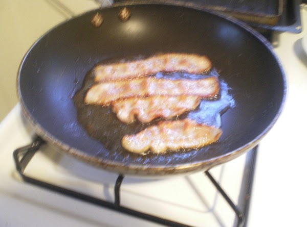 Flip and cook until bacon is golden but don't over cook it - burnt...