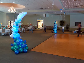 Photo: Long view of Under the Sea themed Grand Haven High School Prom 2011 at Trillium Banquet Hall, Spring Lake, Michigan. Beautiful place! 7' tall waves, seahorses, swimming centerpieces and hanging topiary everything was lighted and looked amazing with the LED ceiling!