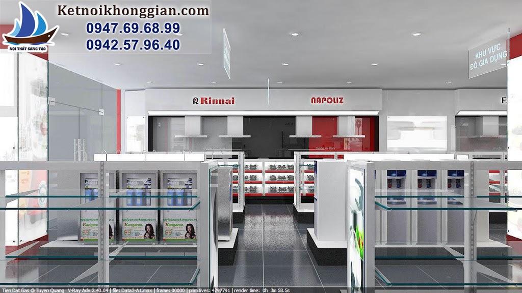 nội thất được thiết kế đồng bộ xuyên suốt toàn cửa hàng