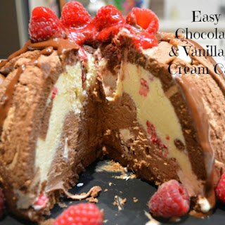 Easy Chocolate and Vanilla Ice Cream Cake.