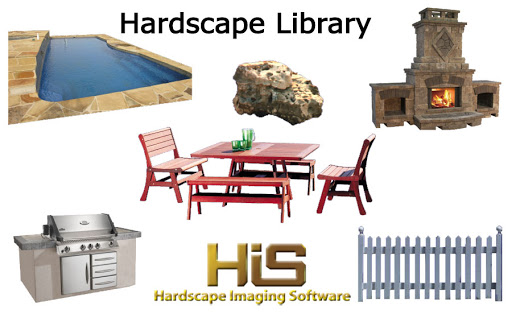 Objects like fire pits, fire places and pools are included in Hardscape Design Software.