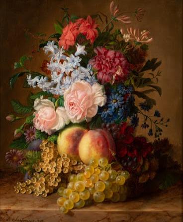Virginie Sartorius Nature morte au bouquet et aux fruits