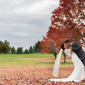 Young Love in the Fall... by Nigel Hepplewhite - Wedding Bride & Groom ( love, autumn, fall, international, maryland, couple, bride, marriage, groom, young )