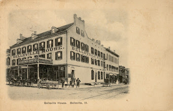 Photo: Belleville House Hotel  On the Southeast Corner of the Public Square Present Site of the Meredith Memorial Home Built 1845 - Demolished 1929