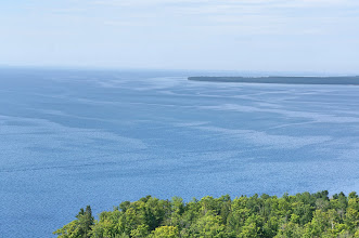 Photo: Looking toward the south. Notice all the currents on the surface of Lake Superior.