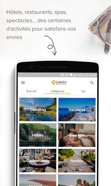 Loisirs Enchères - Offres de voyages et bons plans Android App Screenshot