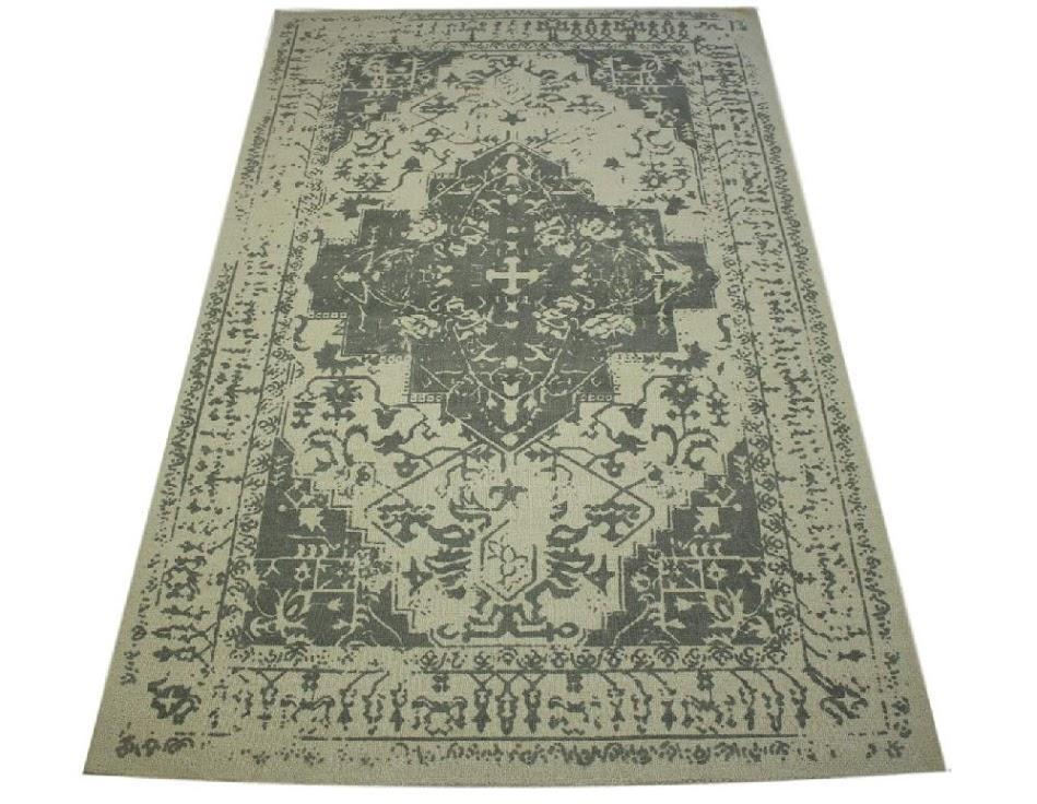 100% wełnany nowoczesny dywan z Indii ręcznie taftowany 150x240cm szary vintage