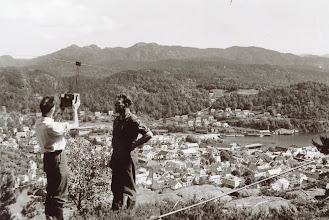 Photo: Måling fra Storheia, Flekkefjord.Tidl. 60årene..