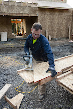 """Photo: (1st jig too small, laying on the ground) Cutting with the Big Foot since these joists have 2 1/2"""" flangees"""