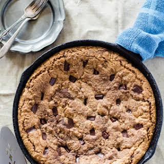 Chocolate Almond Skillet Cookie.