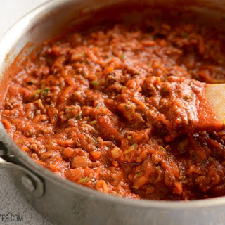 Spaghetti with Vegetable and Meat Sauce Recipe