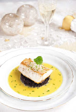 Photo: Name: Maria Iglesias Localition: Marbella (Spain) Blog name: Food&Chic http://foodandchic.com/ Photograph´s title: Roasted seabass, black rice and asian bouillabaisse. URL photograph: http://foodandchic.com/2012/12/07/lubina-con-bullabesa-asiatica-y-arroz-venere/ Type of camara and lens: Nikon D80. AF-S DX 18-70