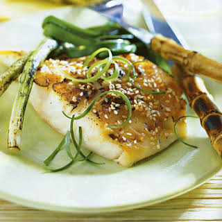 Grilled Sea Bass with Miso-Mustard Sauce.