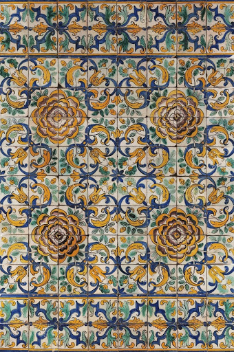 Pattern azulejo panel with camellia