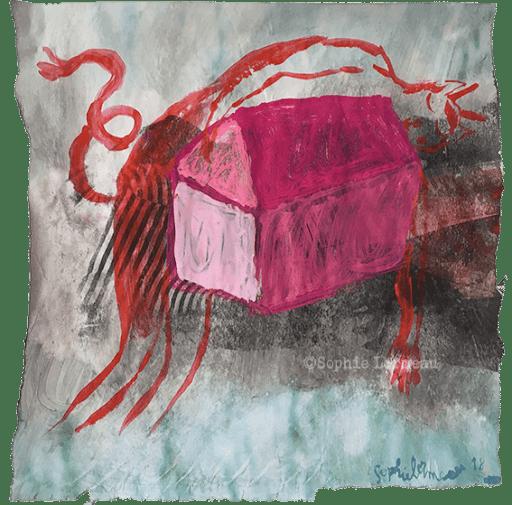 Insomnie-ombre-rouge-diable-mauvais-esprit-insouciance-enfance-childhood-souvenir-maison-deracinee-racine-temps-sophie-lormeau-peinture-artiste-contemporaine-papier-magazine-upcycling-chagall-singuler-art-figuratif-recyclage-colorful