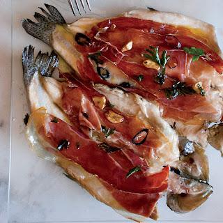 Pan-Seared Trout with Serrano Ham and Chile-Garlic Oil.