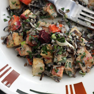 Wild Rice Salad with Roasted Vegetables and Lemon-Tahini Dressing
