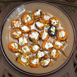 Stuffed Grilled Apricots With Goat Cheese, Pistachios, and Balsamic.