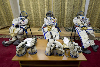 """Photo: Here is how the Sokol suits look when they're """"empty"""" and ready to be donned. As you can already see, the entire front part of the torso is opened and that's how you get it on."""