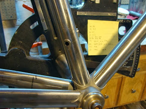 Photo: I've already brazed in the waterbottle bosses and the Di2 wiring port on the seat tube.