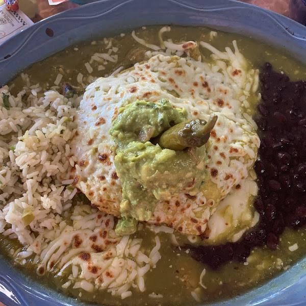 A plateful of BAM!  GF chicken enchiladas.