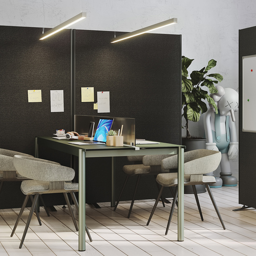 2 office partition screens linked together, upholstered in charcoal black fabric, with freestanding bar feet that can be used to create new spaces within the office through partitioning.