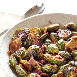 Balsamic Maple Roasted Brussels Sprouts with Bacon.