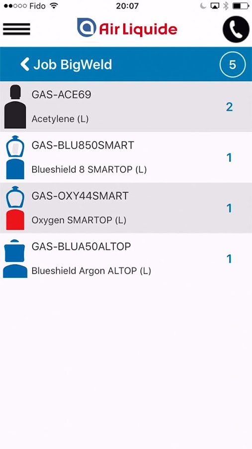 Air Liquide mobile application- screenshot