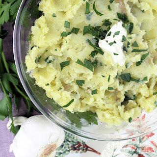 Garlic & Herb Smashed Potatoes.