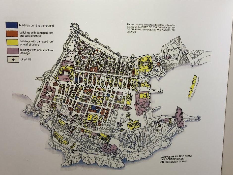 Map of Dubrovnik Bombing
