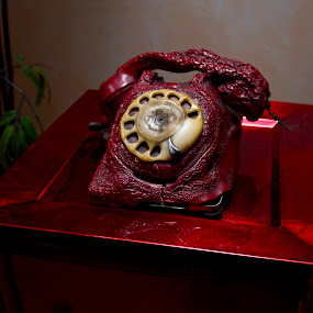 The red phone. by D. Bruce Gammie - Artistic Objects Other Objects ( red phone, phone, red, melted, fire )