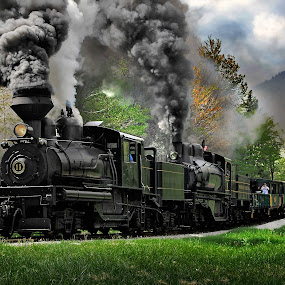 Next Out by Chuck  Gordon  - Transportation Trains ( cass, steam train, shay, smoke )