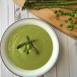 Vegan Asparagus-Green Pea-Edamame Soup
