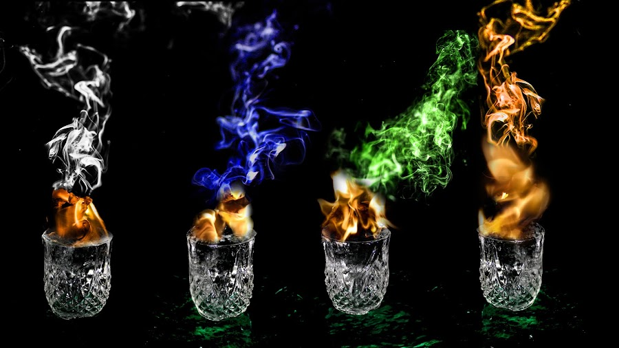 The Four Elements by Chris Anderson - Digital Art Things ( water, wind, glass, elemental, earth, elements, smoke, fire )