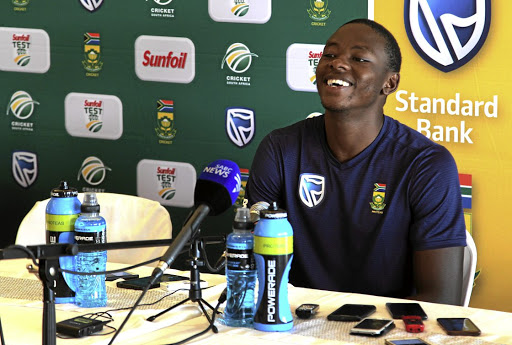 Jubilant: Kagiso Rabada faces the media after the third day of the second Test at Newlands on Wednesday. Picture: GALLO IMAGES/ Petri Oeschger