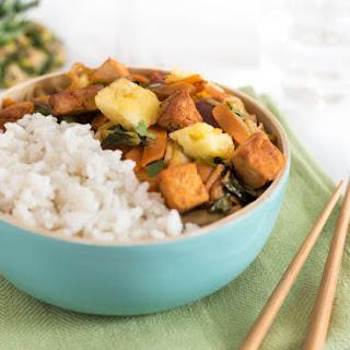 Pina Colada Tofu Bowls With Coconut Rice.