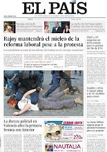 Photo: Mariano Rajoy mantendrá el núcleo de la reforma laboral pese a la protesta y la dureza policial en Valencia abre la primera bronca entre oposición e Interior, en nuestra portada de este 21 de febrero http://www.elpais.com/static/misc/portada20120221.pdf