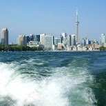 views from the lake of the Toronto skyline in Toronto, Ontario, Canada