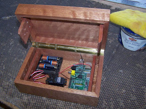 Photo: Something a bit different. This #custom-wooden-box contains electronics, GPSr and mechanics - hidden below an internal cover (not shown) - that only allow the box lid to open when the box is at a pre-programmed geographic location. Used as part of a Geocaching puzzle..