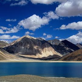 Pangong Tso(Lake), Ladakh,J&K, India by Jaydip Bera - Landscapes Mountains & Hills