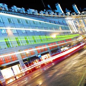 regent street blur by Tyler Sleap - City,  Street & Park  Street Scenes ( exposure, regent, time, england, bus, london, street, night, blur, long, piccadilly, circus )