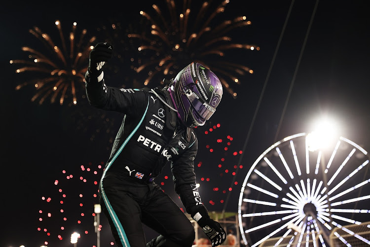Lewis Hamilton celebrates in Bahrain. Picture: GETTY IMAGES/LARS BARON