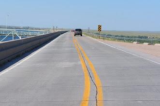 Photo: Nebraska Highway 61 passes over the dam.