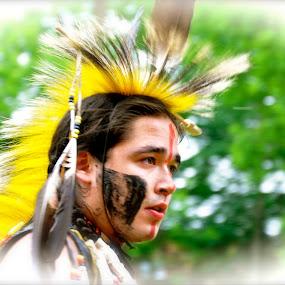 pow wow by Jean-Pierre Machet - People Musicians & Entertainers ( pow wow, danseur, native man, entertainer, dancer,  )
