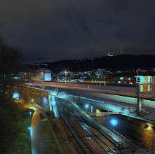 Photo: #creative366project Apr 24, 2012  Night shot of the Sihltalautobahn going over the Sihl and the train tracks when seen from up the hill where my office is.  I think I didn't post this shot yet. This is not HDR, I only moved the neutral color point a bit.
