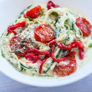 Courgette 'spaghetti' With Yoghurt Sauce And Oven Roasted Tomatoes