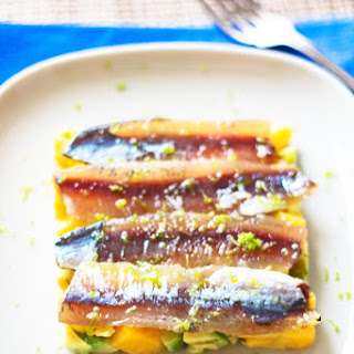 Marinated Sardines with Peach and Avocado Tartar.