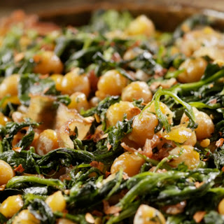 Sautéed Chickpeas With Spinach and Bacon.