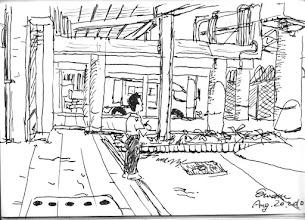 Photo: 檢查站2010.08.20鋼筆畫 監獄每日進出的貨物、材料、食物都在這裡上下貨及檢查, 趁著一早車少,趕緊作畫… 但一不小心,比例沒抓好,把同事給畫成了小矮人…